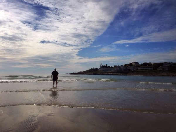 Ogunquit Maine People In Nature Waves Reflection Walking On The Beach Clouds And Sky Blue Sky Low Tide Peaceful Seascape Spirtual Serene Man On Beach Beach Water Ocean Colour Of Life