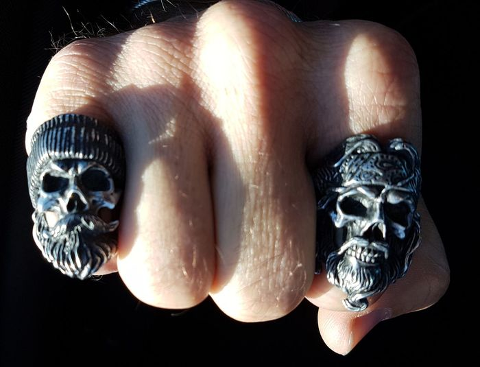 Fist bump...... Rings from Rottenbones.com Rottenbones Skull Rings Bearded Skull Rings Fist Fistbump Phone Photography Samsung Galaxy S7 Edge For The Love Of Photography
