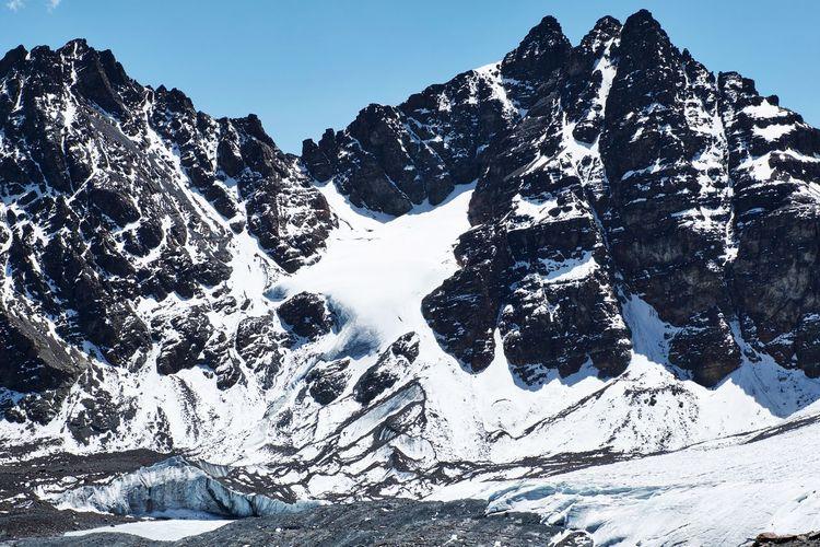 Scenic view of snowcapped mountains against sky - pico austria hikingtrail cordillera real, bolivia