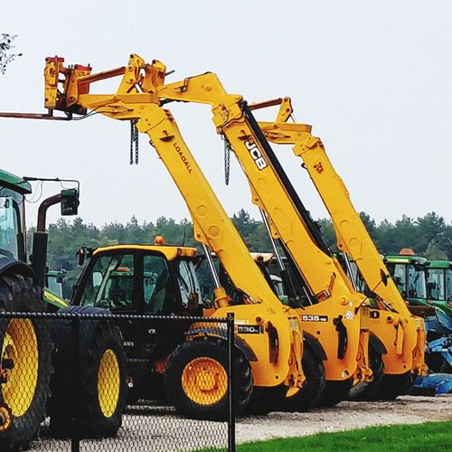 JCB Loader Loadall Yellow Construction Vehicle Construction Machinery Land Vehicle Sky Bulldozer Digging Shovel Commercial Land Vehicle