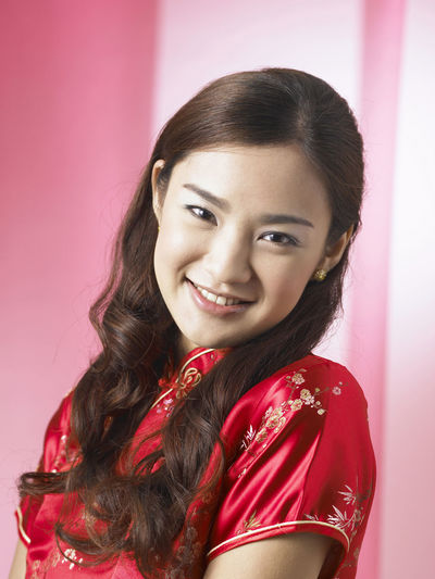 chinese woman wearing red cheongsam Red Happiness Laughing Tradition Traditional Clothing Woman Beautiful Woman Chinese Chinese New Year Confidence  Cultural Festival Gong Xi Fa Chai Lifestyles Long Hair Looking At Camera Oriental Style Portrait Qipao Smile Smiling Studio Shot Toothy Smile Traditional Costume Wearing