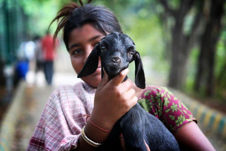 Goat Goats Life Goat Kid Goat Care Care Taker Young Women Women Headshot Portrait