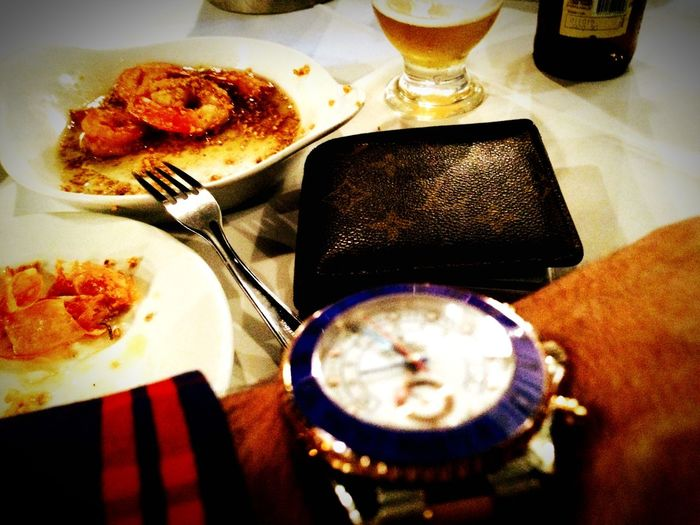 Seafood Eating Dinner Super Fresh Hungry Shrimp Rolex Yacht Master II Louis Vuitton