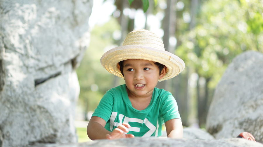 Portrait of smiling boy wearing hat