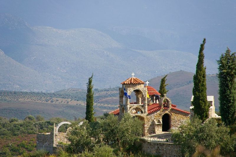 Cloister in Greece Architecture Travel Destinations Religion Built Structure Outdoors Cloister Landscape No People Mountain Travel