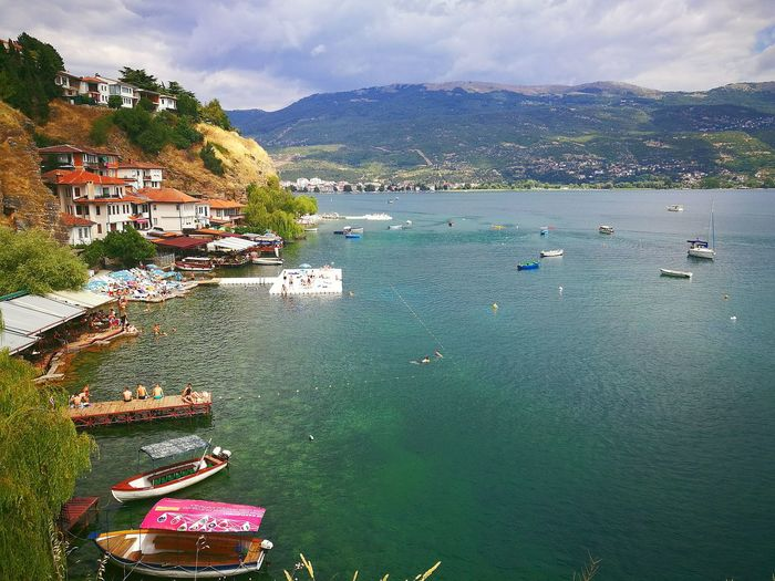 Scenic view of ohrid lake and mountains