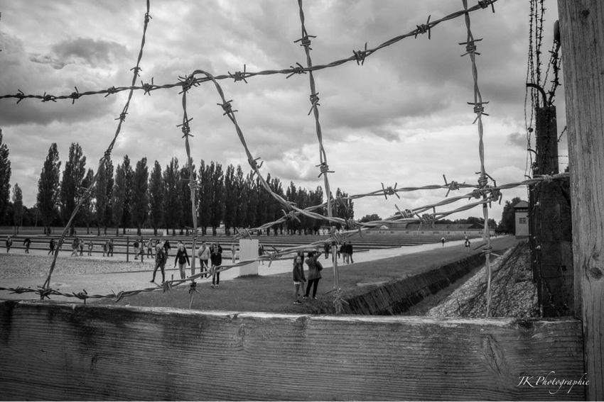 Sky Outdoors Tranquility Sad Silence Blackandwhite Blackandwhite Photography Geschichte Never Forget World War 2 Memorial Tadaa Community Dachau KZ Dachau Gedenkstätte History Remembering Stacheldraht