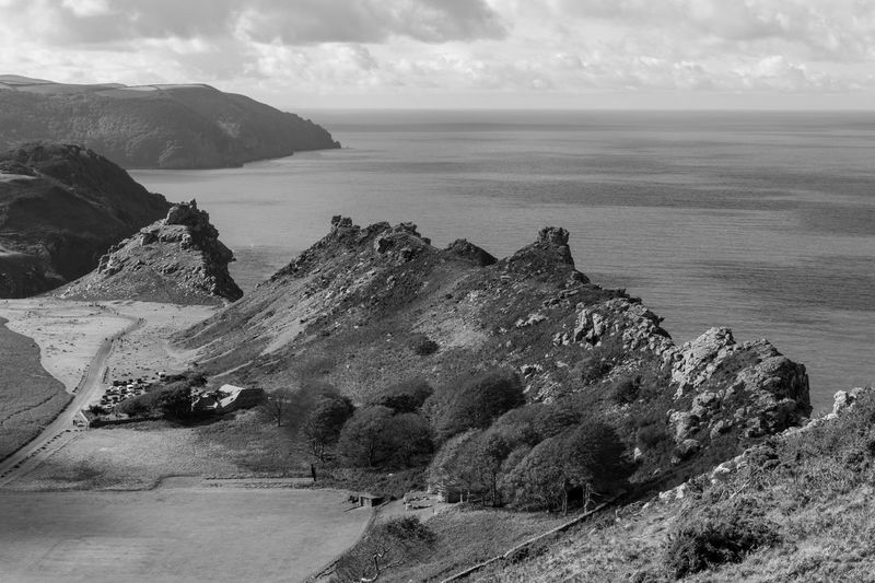 View from hollerday hill of the valley of the rocks in exmoor national park