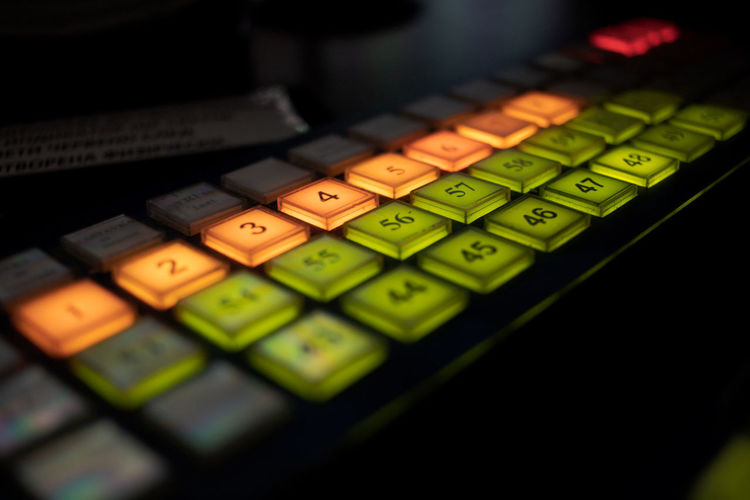 High angle view of computer keyboard on table