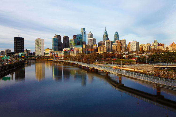 A view of Philadelphia, Pennsylvania skyline Architecture Building Exterior Built Structure City City Life Cityscape Financial District  Modern Office Building Pennsylvania Philadelphia Reflection River Sky Skyline Skyscraper Tall - High Tower Urban Skyline Water Waterfront First Eyeem Photo