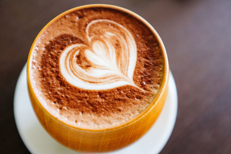 Latte art in the shape of tiny heart. Cappuccino Close-up Coffee - Drink Coffee Cup Cup Drink Food And Drink Freshness Latte No People Refreshment