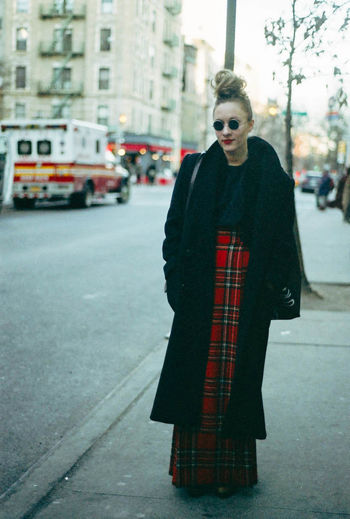 Casual Clothing City City Life Fashion Glasses Jacket Portrait Street Photography Street Style Tartan Warm Clothing Woman Young