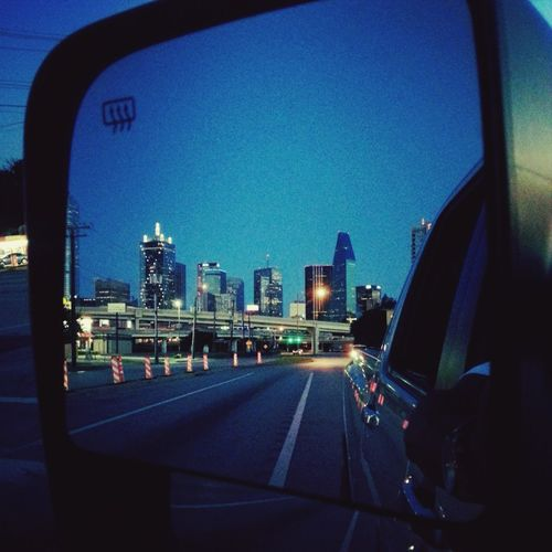 Goodnight Dallas. Stay Classy. Taking Photos View From My Rearview Mirror Citylife Cityscapes Relaxing Dallas Tx Nissan Titan