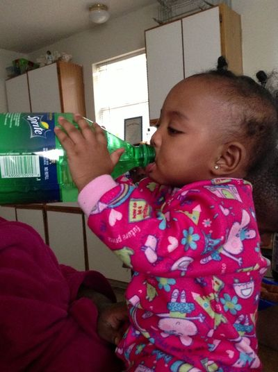My Niece Drinking Out Of A 2 Liter