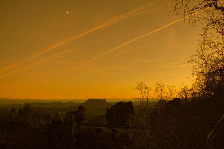 Sunset on the bastei - in the saxon switzerland