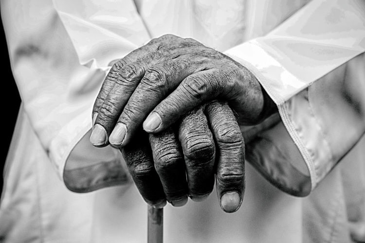Human Hand Hand Human Body Part Real People Midsection Men People Adult Senior Adult Wrinkled Occupation Focus On Foreground Close-up Indoors  Ring Detail Males  Holding Body Part Finger