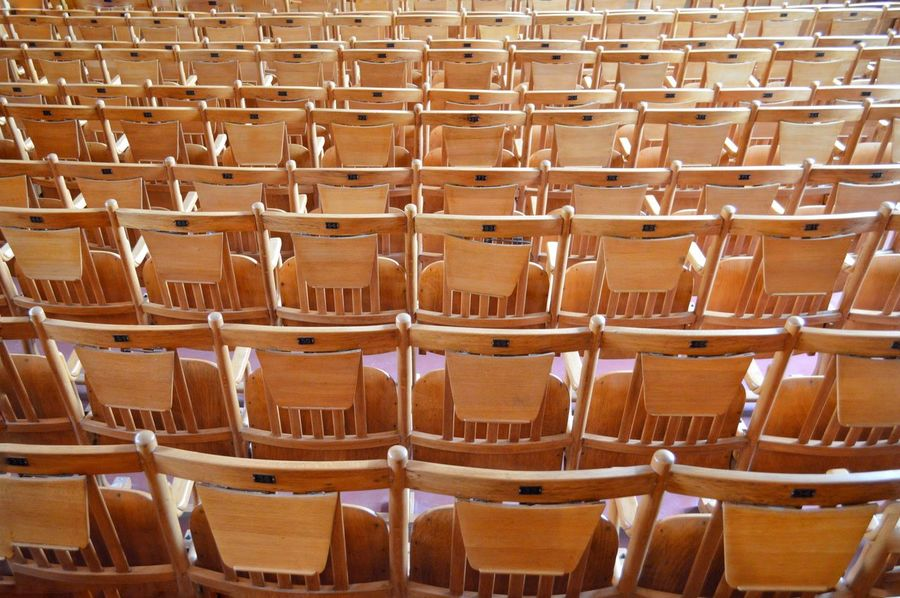 In A Row Chairs Chairs Seats Full Frame Abundance Large Group Of Objects Symetry School Furniture Design Indoors  Business Finance And Industry From My Point Of View Eye4photography  Wood - Material No People School Life