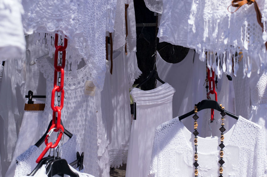 Andratx Chain Clothing Clothing Store Day Hanging Hanging Majorca Mallorca Market Market Stall Marketplace Outdoors Red Color White Color