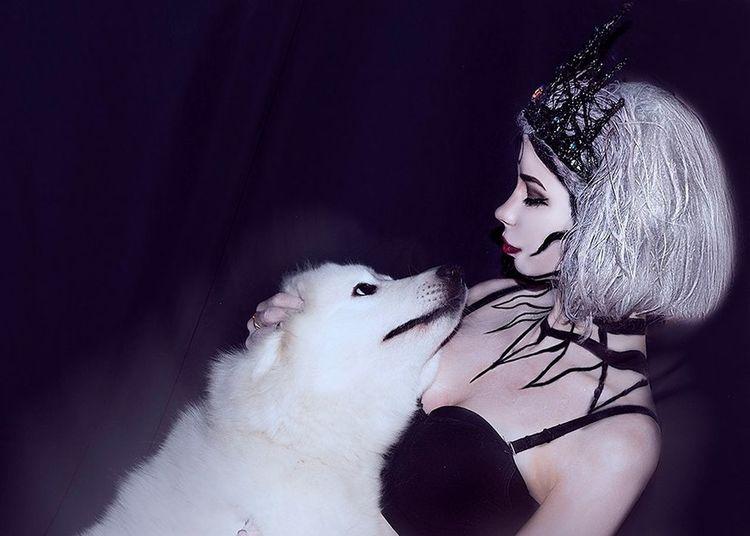 Art Artfoto Girl Makeup Gothic Women Dog Samoyed
