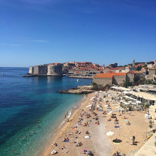 Croatia Dubrovnik Beach Sea Blue Old Town Wall Castle Travel Destinations Travel