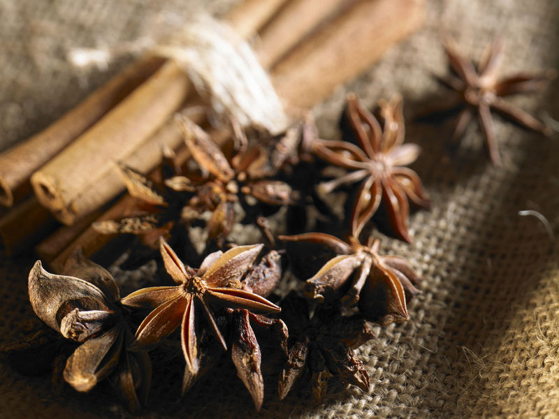 cinnamon and anise star Anise Cinnamon Sticks Close-up Day Dried Food Dried Plant Food Food And Drink Freshness Indoors  Ingredient Nature No People Sackcloth Spice Star Anise