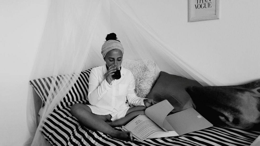 Lifestyles Newspaper Sitting Morning Creativity Casual Clothing Relaxation Bedroom Croatia Girl Hello World Beauty Love Amazing