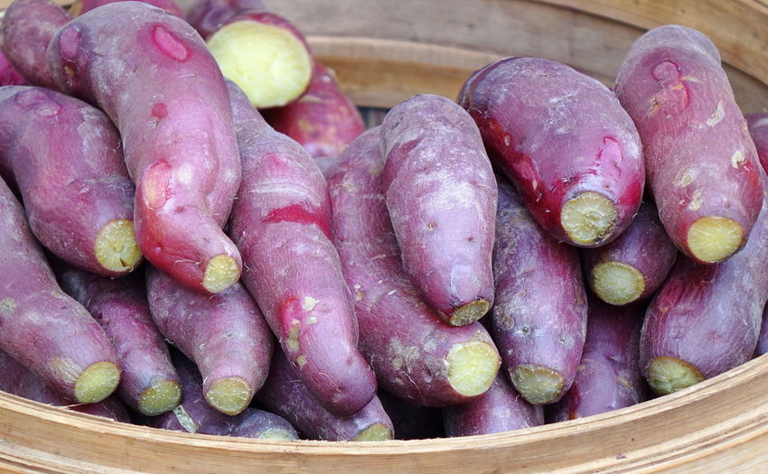 Purple sweet potatoes in a bamboo steamer Food Healthy Eating Freshness Vegetable Sweet Potato Root Vegetable Purple Tuber Yams Steamed Food Bamboo Steamer Chinese Food Taiwan Food