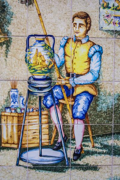Decoration, Tiles, Art Casual Clothing Ceramics, Creativity Day Lifestyles Multi Colored Outdoors Portrait Pottery Pottery Talavera Talavera Pottery