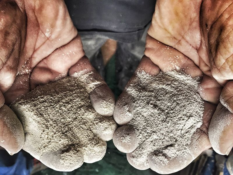 Hands Work Worker Bricklayer Cement Choose Close-up Day Dirty Dust Grout High Angle View Holding Human Body Part Human Hand Indoors  Joint Mason Men One Man Only One Person People Powder Real People Showing