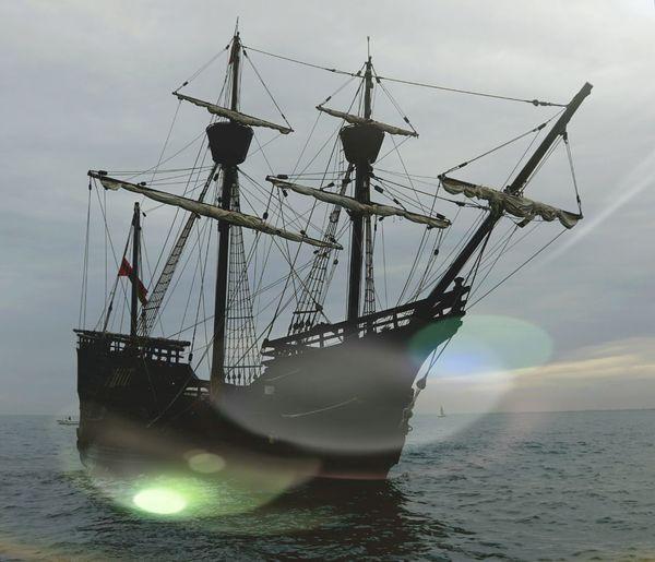 Tall Ship Nautical Vessel Water Sea Silhouette Sky Horizon Over Water