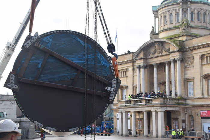 Siemens wind turbine blade is lifted into position in Hull's Queen Victoria Square (08/01/2017) during Hull 2017 City Of Culture Architecture Architecture Building Exterior Built Structure Day Hull Hull 2017 Hull City Of Culture 2017 No People Outdoors Sculpture Siemens  Sky Turbine Turkey Wind Turbine