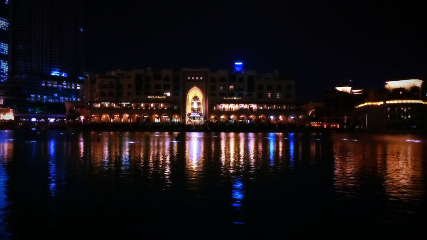 Souk Al Bahar Architecture Building Exterior Built Structure City Cityscape Illuminated Night No People Outdoors Reflection River Sky Water Waterfront