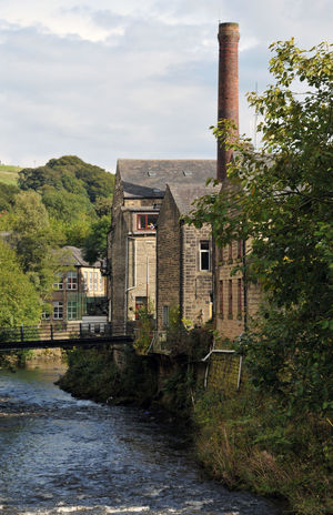view of the river calder and houses in hebden bridge Hebden Bridge Trees Yorkshire Bridge Calderdale Factory Chimney Pennines River Terraced Houses