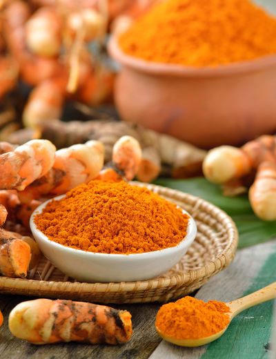 Spice and turmeric on table