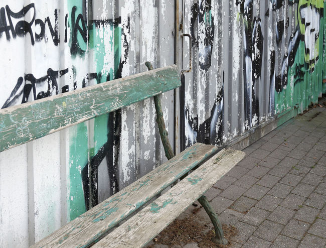 weathered bench Abandonment Bench Decay Derelict Graffiti Grunge Horizontal Neglected Old Tags Wall Weathered Wood Wooden Worn