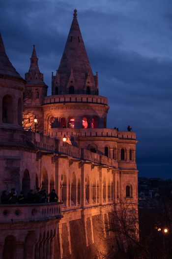 Final bastion Fisherman's Bastion Hungary Budapest Architecture Building Exterior Built Structure Sky Illuminated History Night Dusk City Travel Destinations Building Tourism Outdoors Travel