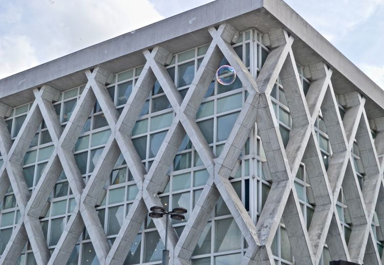 bubbled Outdoors Paris Architecture Pattern Square Diamond Modern Modern Architecture Bubble Built Structure Low Angle View Cloud - Sky Day Building Exterior Sky No People Wood - Material Metal Nature Building Design Bridge Tower Shape Creativity Art And Craft White La Défense