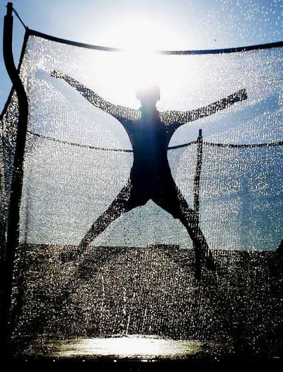 Silhouette Water Sky One Person Sunlight Outdoors Trampoline