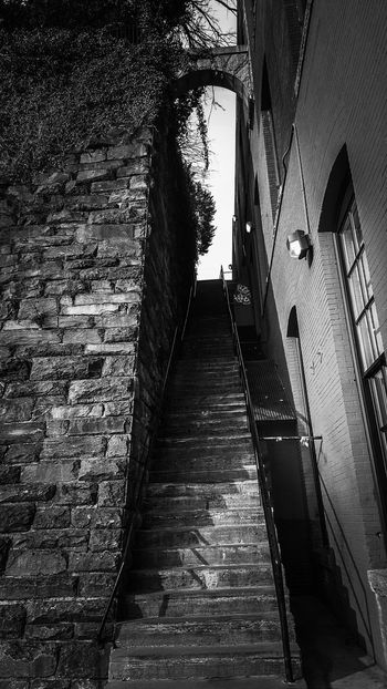 "If you've ever watched the movie, ""The Exorcist"", these are the infamous stairs that are in the movie. Monochrome Blackandwhite Black And White Washington, D. C. Arched Low Angle View Architecture Stairs Georgetown Exorcist  Built Structure Building Exterior Outdoors Sky Day No People"