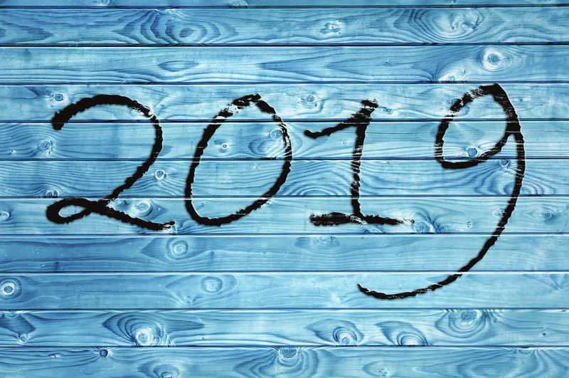 Blue Pattern Textured  Backgrounds Full Frame Paint 2019 Pannel Wooden New Year Written Holidays Event Celebration