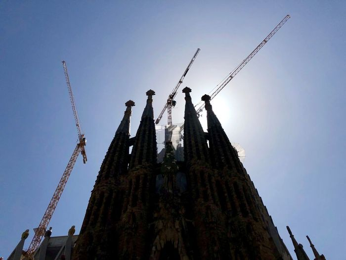 Catedral de la Sagrada Família... Scenics Sky Architecture Low Angle View Built Structure Building Exterior Nature Religion Tower Clear Sky Belief Building Place Of Worship Spirituality The Past No People History Spire  Tall - High Outdoors