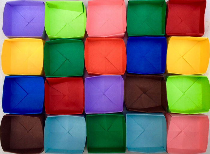 Full frame shot of colorful paper containers