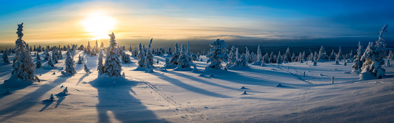 Finland Lapland Panorama Winter Cold Temperature Landscape Polar Circle Sunset Tunturi