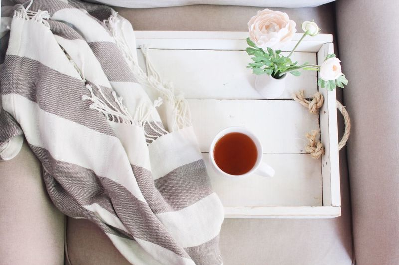 Mug Coffee Cup Indoors  White Color Flower Directly Above Freshness High Angle View Table No People Close-up Day Natural Light EyeEmNewHere Petal Comfortable Food And Drink Blanket
