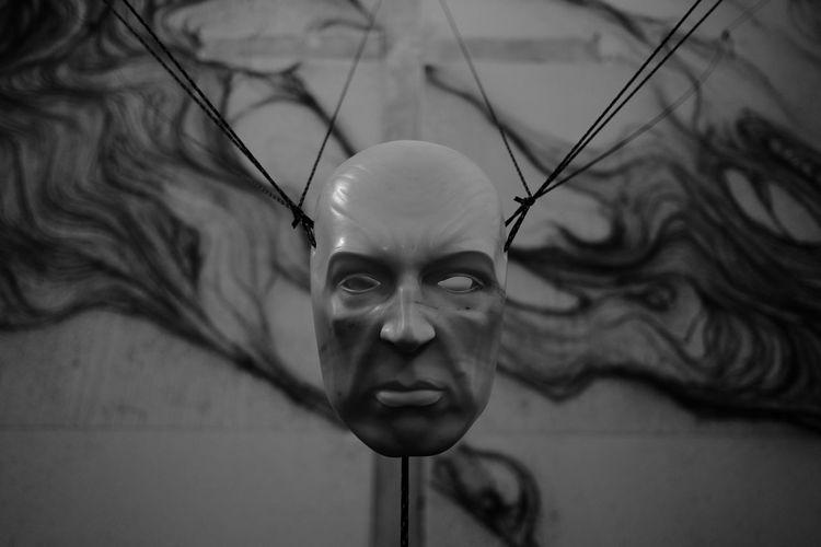 The Mask ArtWork Fujifilm X-E2 Blackandwhite Close-up Fujifilm Fujifilm_xseries Headshot Human Face Indoors  Mask One Person Portrait Selective Focus