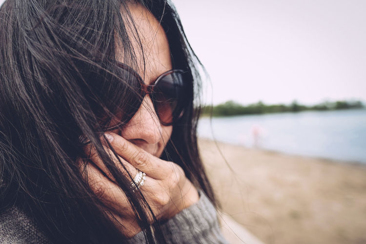 Beach Black Hair Hair Blowing In The Wind Lake Superior Park Portrait Sunglasses Water Woman