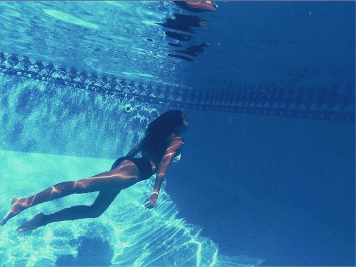 Underwater Swimming Swimming Pool Blue Water Real People Full Length