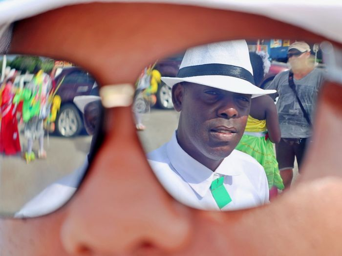 Real People Headshot Smiling Selective Focus Human Body Part Day Lifestyles Sun Glasses Mirror Image