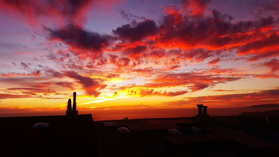 Sunset Silhouettes Night Photography Sunset_collection Rooftop Scenery Landscapes With WhiteWall