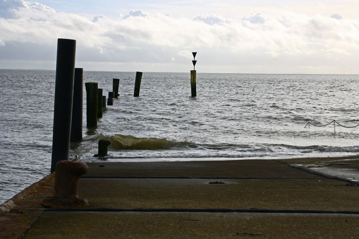 Pier at the northsea Harbor Pier Post Beach Beauty In Nature Cloud - Sky Day Horizon Over Water Nature No People North Sea Northsea Outdoors Posts Scenics Sea Sky Tranquil Scene Tranquility Water Wave Wooden Post